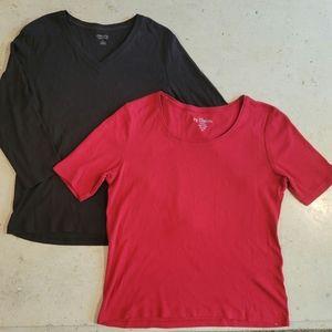 Chico's Solid Cotton T-Shirts Bundle size 1